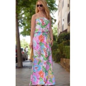 LILY PULITZER | Strapless Nosey Posey Maxi Dress